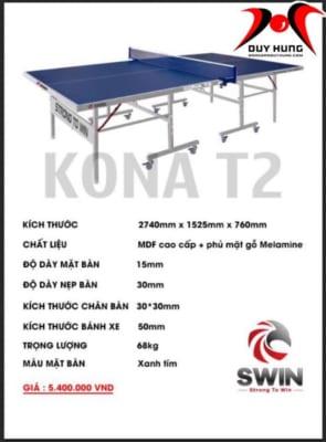 Bàn bóng bàn Swin KONA T2